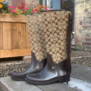 Coach Tristee Classic C Lace Up Rain Boots